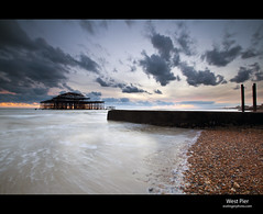 Brighton West Pier (esslingerphoto.com) Tags: uk greatbritain winter light england beach water architecture clouds sunrise photography eos evening coast sand brighton europe exposure surf britain great architectural abandon single 5d britian mkii esslinger esslingerphotocom