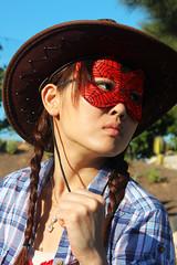 Western Girl (matttaylorhobbs.wix.com/matttaylorhobbs) Tags: cactus cacti gun mask fuerteventura cowgirl cowboyhat blueshirt octogon octagon redmask 2013 westerngirl january2013