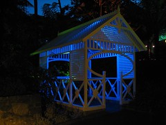 lit house colour (GIALIAT) Tags: pink blue red plants white black green water animal yellow gardens night fun botanical lights concert pond bush magic creative january event blacklight wellington local duckpond asb beegees 2013 gialiat pallion lightshop silverfx