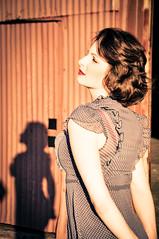 Womack Silhouette 2 (NolaChick) Tags: blue silhouette vintage dress dusk neworleans retro polkadots pinup nolachick mariellesongy womackphotography adrianwomack