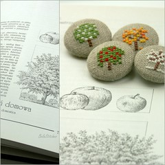 embroidered fabric covered buttons (Bela Stitches) Tags: tree apple crossstitch natural handmade linen embroidery fourseasons button embroidered fabriccoveredbuttons