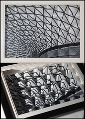 British Museum (geatchy) Tags: blackandwhite bw distortion glass triangle pyramid perspective ceiling mathematics britishmuseum maths trigonometry disproportionart