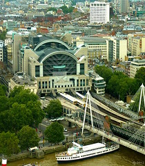 Charing Cross Station (Wipeout Dave) Tags: building london station architecture river boats londoneye riverthames charingcross urbanlandscapes charingcrossstation charringcrossstation lumixdmctz6 wipeoutdave djs2012