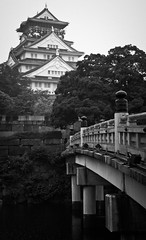 Bridge (Aaron Webb) Tags: bridge bw japan   osaka osakajo osakacastle