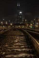 Railway to Chicago (rseidel3) Tags: railroad chicago skyline night photoshop nikon railway hdr lightroom