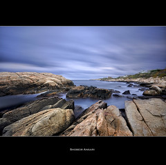 Narragansett Sunrise, Rhode Island. (Shobeir) Tags: ocean longexposure ri seascape rock sunrise coast wideangle rhodeisland shore coastline narragansett rockformation sigma1020 nd110 shobeiransari