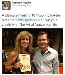 New York Times bestselling author and modern-day explorer Chris Guillebeau visits and signs his book $100 Startup for fan of The Art of Non-comformity matchmaker and Navy veteran Roseann Higgins in La Jolla (roseann_higgins) Tags: chrisguillebeau roseannhiggins booksigning entrepreneurship lajolla startups the100startup theartofnoncomformity