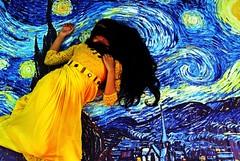 The Starry Night (Synthia Mazumder) Tags: blue beautiful yellow night painting star poem starrynight vincentvangogh jibananandadas