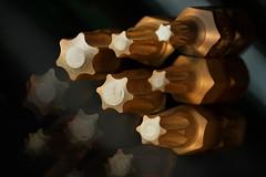 Torx bits for Macro Monday theme Stars (Wim van Bezouw) Tags: macromondays torx bit bits tools metal gold copper object hardware stars selectiveconceptualdof