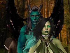 Forest Demons Together (Syren Nightfire) Tags: soul secondlife exile bentbox gauze neverwish catwa slink hourglass eve adam zibska deviousmind blasphemy lumae forest demon