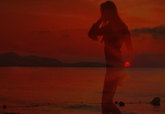 silhouette of a nice woman on the beach (hans 1960) Tags: sun sunset sonne sonnenuntergang wasser water strand meer himmel sky woman silhouette farben colours beach wellen waven longhair nice trume dreams holyday urlaub