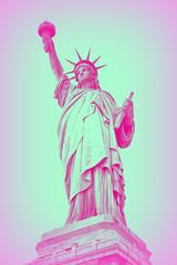 COLOR (florencia mele fabris) Tags: statue liberty new york color estatua de la libertad colores rosa celeste manhattan nikon