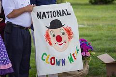 national clown week (timp37) Tags: sign banner national clown week illinois august 2016 woodlawn cemetary showmens rest