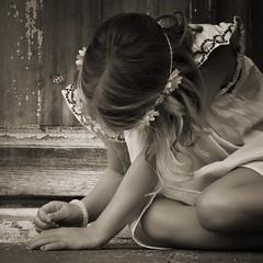 Curiosity  (heidikesteloot) Tags: portrait monochrome mextures photography child girl crown flowers faceless