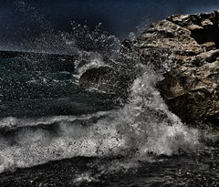 Waves (toxenaki) Tags: wave waves landscape sea night moon moonlight sky shore beach hdr sunset sunrise