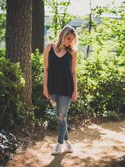 Dappled trail (Vincent F Tsai) Tags: portrait girl fashion jeans path trail woods trees ripped shadows dappled sigma30mmf14dcdn panasonic lumixg7