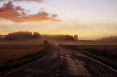 Evening fields (Joni Mansikka) Tags: summer nature outdoor rural evening sunset dusk fields landscape road trees silhouettes mist paimio suomi finland tamronspaf2875mmf28xrdildasphericalif