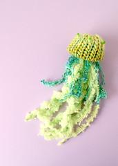 Horn Jellyfish Brooch (hine) Tags: jellyfish brooch knitted etsy hine plush handmade craft pin