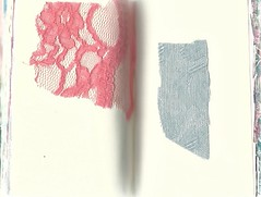Daybook #26 (Frances Sousa) Tags: daybook sketchbook work book visual diary pastel pink lace blue brocade textiles design marie antoinette collage fabric fashion experimental emerging toronto contemporary art modern minimal