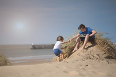 He aint heavy.. He's my brother (Windermere Images) Tags: sky breeze grass dunes wales porthcawl sand sea sun family bond love summer beach brothers