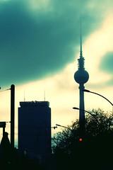 Berlin (DomLock) Tags: elements berlin clouds sky dark berlinerfernsehturm televisiontower fernsehturm tower architecture