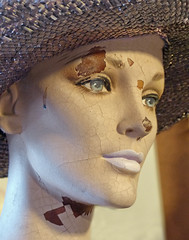 Mannequin head (sharon'soutlook) Tags: mannequinhead hat damaged cracked peeling mannequin macro