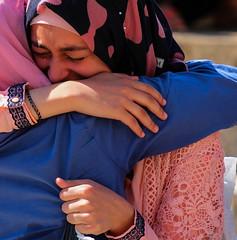 Tears For Fears (ybiberman) Tags: fridayprayer alquds israel jerusalem oldcity ramadan candid hijab tears hug portrait streetphotography adolescent girl