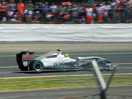 Nico Rosberg in his Mercedes at the 2010 British Grand Prix