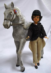 """Vintage Sindy Horse """"PEANUTS"""" with Vintage Tammy wearing Sindy's PONY CLUB outfit (Joey n Me) Tags: club vintage grey with tammy peanuts pony flocked my"""