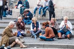 streetdiner-0239 (105mm) Tags: street people woman sun girl smile dutch amsterdam fashion portraits women boots style meeting diner skirt blond pantyhose eten mensen streetdiner