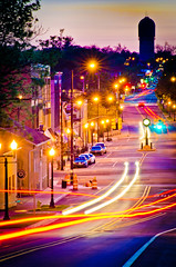 depot town- ypsilanti (Stephen McCauley) Tags: nightphotography urban motion blur dusk michigan watertower ypsilanti nightlife depottown