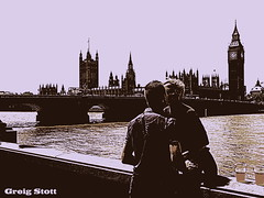 Romance in Westminster (GreigStott) Tags: london love westminster couple younglove housesofparliament londoneye bigben romance lovers romantic youngcouple riverthames londontransport centrallondon londonengland greigstott