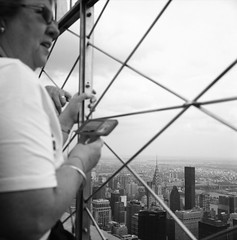 on the 86th floor (Hiroyuki Okamoto) Tags: new york nyc white ny black building 120 tlr film home monochrome rollei analog rolleiflex zeiss high state manhattan delta line carl empire pro medium 100 rodinal developed ilford planar f35 selfdeveloped 75mm 35f selfdeveloping