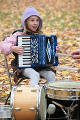 Girl On A Blue Accordion (peterkelly) Tags: blue autumn musician music playing ontario canada fall girl digital drums chair community guelph accordion player northamerica neighbourhood drumkit exhibitionpark scottthomson theshare susannahood