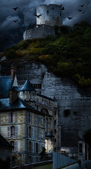 Manor and dungeon (Michel Couprie) Tags: panorama cliff france castle history seine architecture night clouds photoshop canon eos mood atmosphere dungeon 7d stitching manor crows falaise middleages craie manoir lightroom chalky 13thcentury moyenge postprocessing 12thcentury yvelines larocheguyon dongeon 100commentgroup
