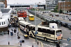Heathrow Airport 1989 (J&LittleHouse) Tags: heathrow taxis 35mmfilm 1989 coaches heathrowairport minoltax300 terminal2 fujisuperhr100