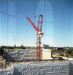 The Bodleian Library, Under Construction, 2011-2014/15 (David Stumpp |[o]| Photography) Tags: camera uk windows light england reflection building 120 6x6 tlr film window architecture rolleiflex photoshop reflections square lens daylight reflex lab natural theatre kodak scanner library libraries united twin kingdom iso negative national oxford cupola epson medium format mf 100 asa 35 developed oxfordshire geographic available bodleian sheldonian planar ektar cs3 pellicola 35f v500 pelicual myoxfordview