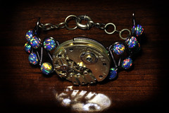 Steampunk Bracelet - Watch Movement - Lab Created (Catherinette Rings Steampunk) Tags: art fashion metal movement wire handmade watch craft jewelry bracelet etsy clockwork brass mechanism artisan steampunk clockpunk