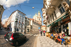 Streets of Prague (filchist) Tags: street cafe prague czechrepublic 16mm zenitar 2012   volvoc30