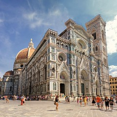The Duomo of Florence (Bn) Tags: santa city pink blue summer sky italy holiday green tower heritage church architecture del florence topf50 italia catholic exterior cathedral bell roman top maria basilica centre gothic wide shades tourist historic unesco campanile campana tuscany dome di firenze panels marble piazza duomo visitors visiting
