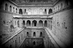 The Haunted Lanes of Delhi (priyam.n) Tags: blackandwhite archaeology architecture ruins delhi mehrauli stepwell baoli rajonkibaoli konomark