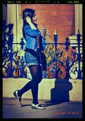 Winter Denim (pickup2sticks 3.7 million + views) Tags: nottingham blue stockings girl beautiful fashion hair asian nikon pretty chinese style tights jeans shorts brunette elegant railings vr 105mm 17tcii d7000 gjkerr