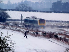 Taking a Hike (Jim the Joker) Tags: snow train railway atw arrivatrainswales class175 1751 wistanstow themarchesline
