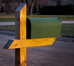 Mailbox in the Sun (Jim Frazier) Tags: wood light sunset orange streets green colors metal contrast mailbox golden evening wooden illinois twilight iron post dusk steel grain january beautifullight sunsets sunny streetscene il communication hour link postal connected batavia kanecounty kane connectivity organization connection magichour q3 goldenhour nexus organized communicate avenues ruleofthirds sidelight interestinglight 2013 ldjanuary ©jimfraziercom wmembed ld2013