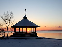 Mid-Winter Sunrise (donsutherland1) Tags: morning winter snow ny newyork sunrise dawn january gazebo snowfall soe longislandsound larchmont manorpark abigfave goldcollection flickraward allxpressus concordians thebestshot paololivornosfriends goldenart saariysqualitypictures