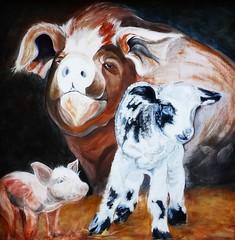 On the Farm (e r j k . a m e r j k a) Tags: ohio wayne applecreek farm pig lamb barnyard rural country us250 whimsy erjkprunczyk murals publicart