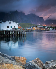 Lofoten (andreassofus) Tags: lofoten norway water reine mountains sky clouds light sunlight midnightsun buildings travel travelphotography rorbuer norge beautiful color colorful canon