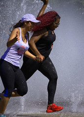 Friends (swong95765) Tags: women females ladies running water fountain wet fun together dare hot red