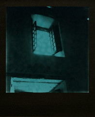 Mission Window (tobysx70) Tags: the impossible project tip polaroid slr680 frankenroid sx70 door rollers green duochrome film for 600 type cameras pioneer instant black frame impossaroid window mission san diego de alcal california ca church doorway beautiful heavenly light ogfc polawalk 081116 toby hancock photography