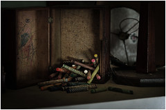 Forgotten box of crayons (Steven Kuipers) Tags: 85mm bedroom house kidsroom exploring explore urbanexplore urbex forgotten crumbling decayed decay abandoned box crayons